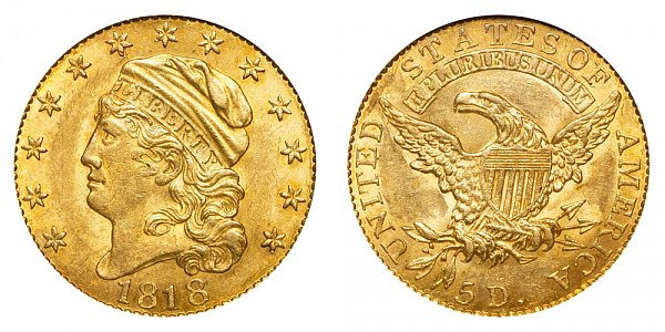 "1818 ""STATEOF"" Capped Bust $5 Gold Half Eagle - Five Dollars"