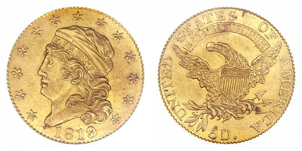 1819 5D/50 Capped Bust $5 Gold Half Eagle - 5D Over 50 - Five Dollars