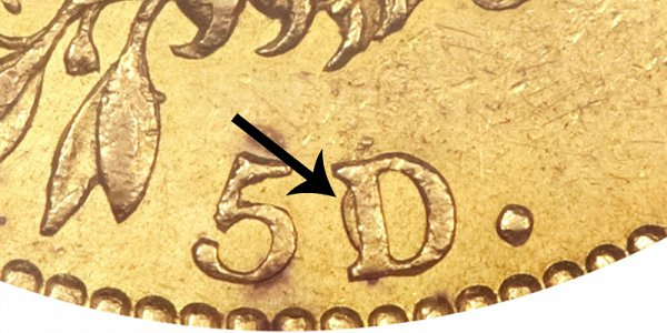1819 5D/50 Capped Bust Gold Half Eagle - 5D Over 50 - Closeup Example Image