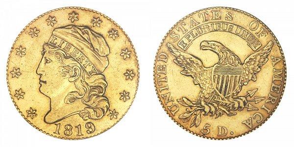 1819 Capped Bust $5 Gold Half Eagle - Five Dollars