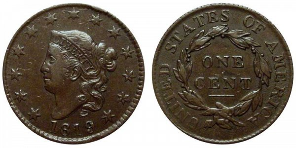 1819 Coronet Head Large Cent Penny - Large Date