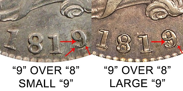 1819/8 Small 9 vs Large 9 Capped Bust Half Dollar - Difference and Comparison