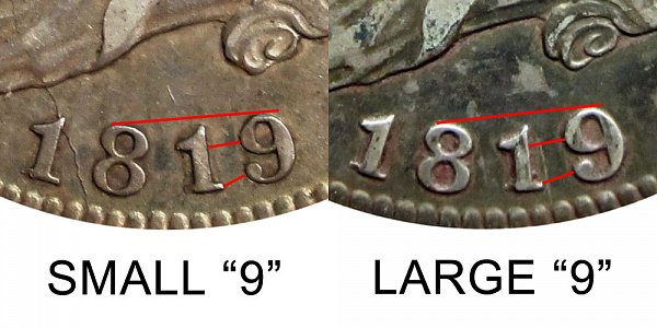 1819 Capped Bust Quarter - Small 9 vs Large 9 - Difference and Comparison