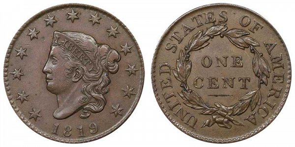 1819 Coronet Head Large Cent Penny - Small Date