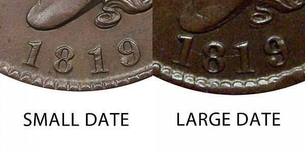 1819 Small Date vs Large Date Coronet Head Large Cent - Difference and Comparison