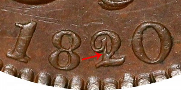 1820/19 Coronet Head Large Cent - 20 Over 19 Overdate Error