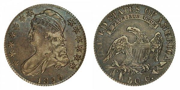 1820/19 Capped Bust Half Dollar - Curl Base 2 - 20 Over 19 Overdate