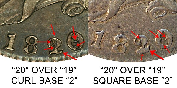 1820 Capped Bust Half Dollar Varieties - Difference and Comparison Diagnosis