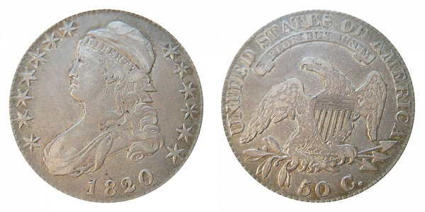 1820/19 Capped Bust Half Dollar - Square Base 2 - 20 Over 19 Overdate