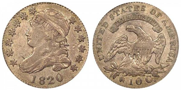 1820 Small 0 Capped Bust Dime
