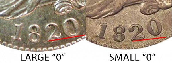 1820 Small 0 vs Large 0 Capped Bust Dime - Difference and Comparison