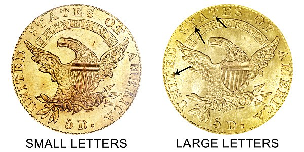 1820 Small Letters vs Large Letters - $5 Capped Bust Gold Half Eagle - Difference and Comparison