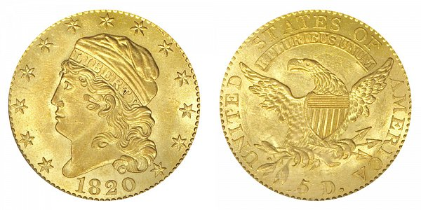 1820 Square Base 2 - Capped Bust $5 Gold Half Eagle - Five Dollars