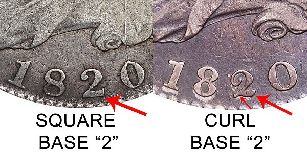 1820 Square Base 2 vs Curl Base 2 Capped Bust Half Dollar - Difference and Comparison