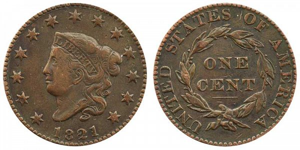 1821 Coronet Head Large Cent Penny