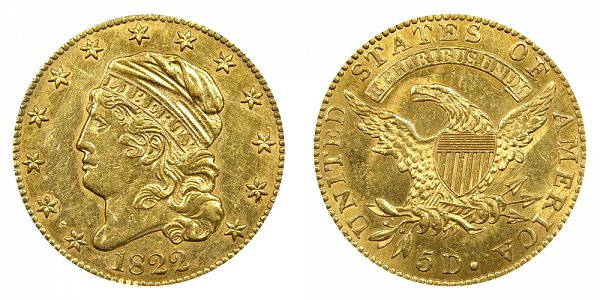 1822 Capped Bust $5 Gold Half Eagle - Five Dollars