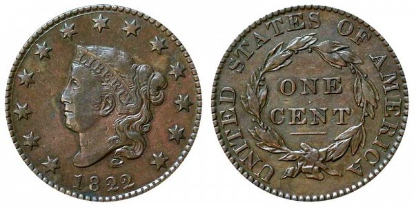 1822 Coronet Head Large Cent Penny