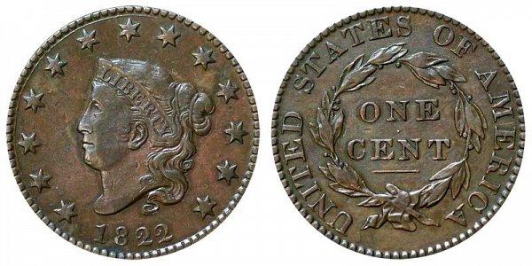 1822 Coronet Head Large Cent Penny