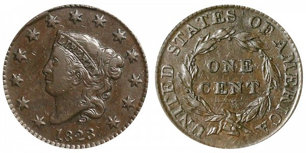 1823 Coronet Head Large Cent Penny - Normal Date