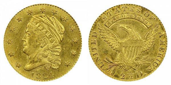 1824/1 Capped Bust $2.50 Gold Quarter Eagle - 2 1/2 Dollars - 4 Over 1