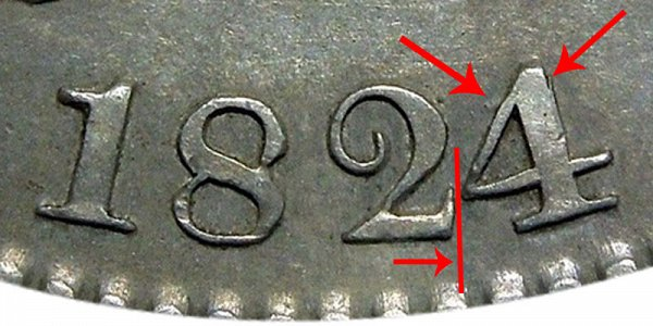 1824/1 Capped Bust Half Dollar - 4 Over 1 Overdate