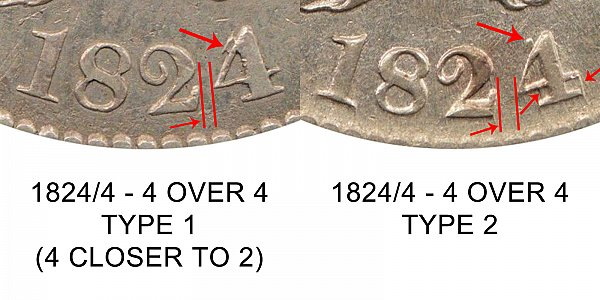 1824/4 Capped Bust Half Dollar - 4 Over 4 Overdate - Type 1 vs Type 2