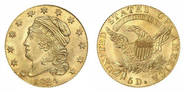 1824 Capped Bust $5 Gold Half Eagle - Five Dollars