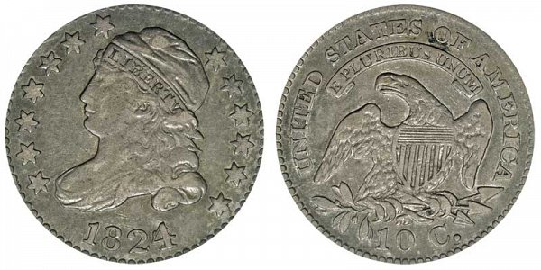 1824/2 Capped Bust Dime - Pointed Top 1