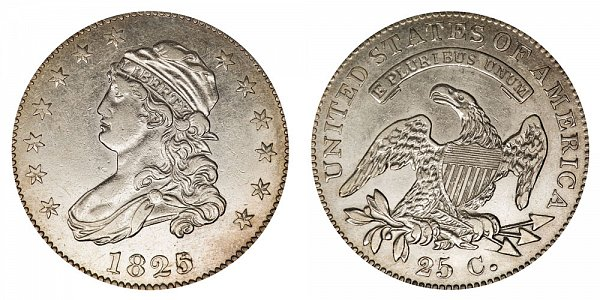 1825/2 Capped Bust Quarter - 5 Over 2 - Wide Date