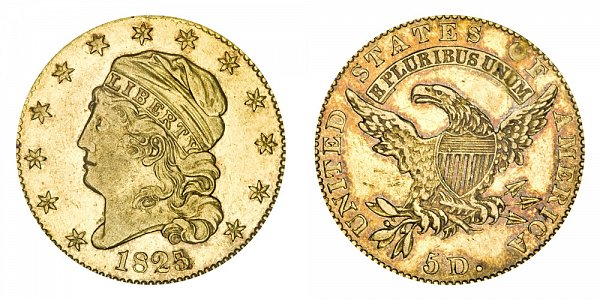 1825/4 Capped Bust $5 Gold Half Eagle - 5 Over 4 - Five Dollars