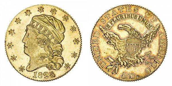 1825/4 Capped Bust $5 Gold Half Eagle - 5 Over 4 - Five Dollars