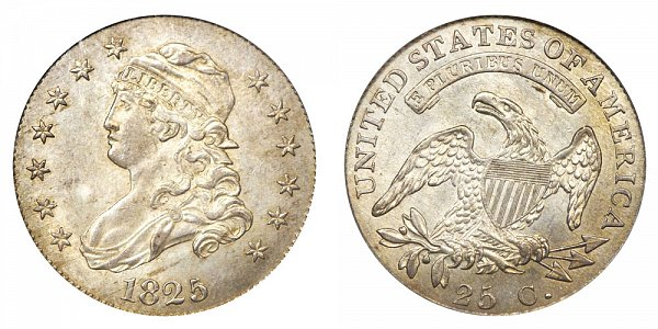 1825/4 Capped Bust Quarter - 5 Over 4 - Close Date