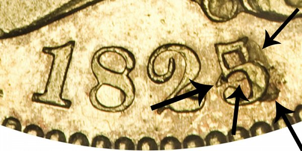 1825/4 Capped Bust Gold Half Eagle - 5 Over 4 BD-2 - Closeup Example Image