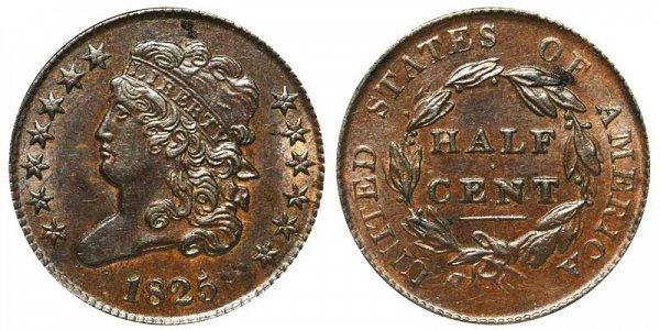 1825 Classic Head Half Cent Penny