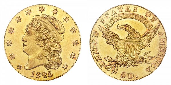 1825/4/1 Capped Bust $5 Gold Half Eagle - 5 Over Partial 4 - Five Dollars