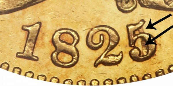 1825/4/1 Capped Bust Gold Half Eagle - 5 Over Partial 4 BD-1 - Closeup Example Image