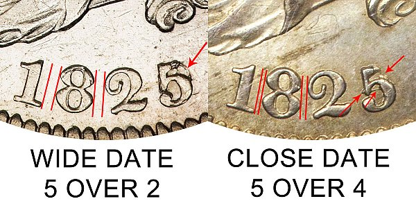 1825 Capped Bust Quarter - 1825/2 vs 1825/4 - Wide Date vs Close Date - Difference and Comparison
