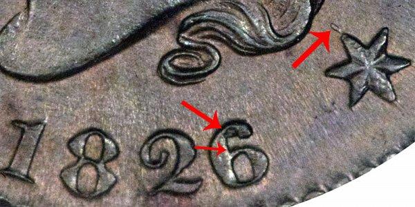 1826/5 Coronet Head Large Cent - 6 Over 5 Overdate Error