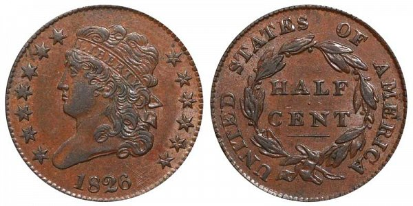 1826 Classic Head Half Cent Penny