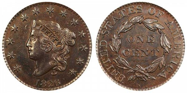 1826 Coronet Head Large Cent Penny - Normal Date