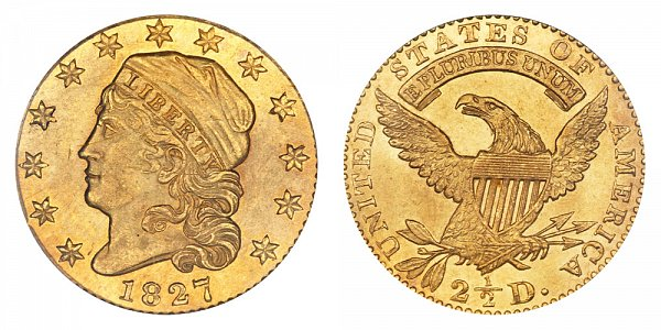 1827 Capped Bust $2.50 Gold Quarter Eagle - 2 1/2 Dollars