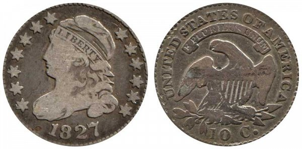1827 Capped Bust Dime - Flat Top 1