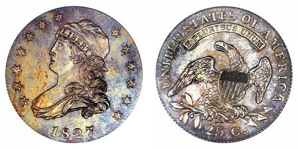 1827 Capped Bust Quarter - Original - Curl Base 2
