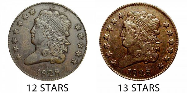 1828 12 Stars vs 13 Stars Classic Head Half Cent - Difference and Comparison
