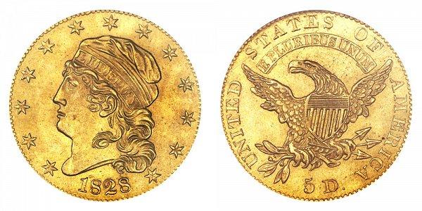 1828/7 Capped Bust $5 Gold Half Eagle - 8 Over 7 - Five Dollars