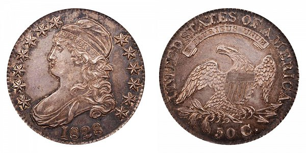 1828 Capped Bust Half Dollar - Curl Base Knobbed 2