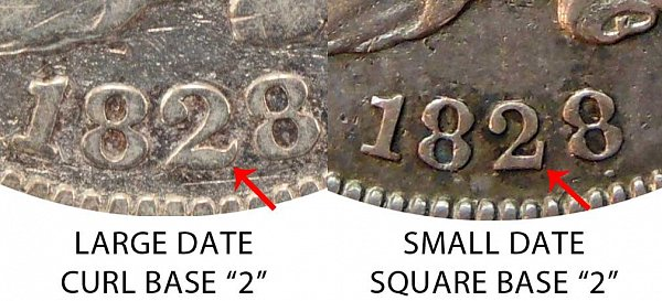 1828 Large Date vs Small Date - Curl Base 2 vs Square Base 2 Capped Bust Dime