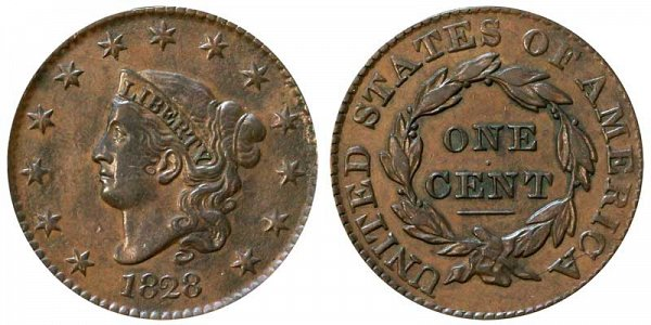 1828 Coronet Head Large Cent - Large Narrow Date