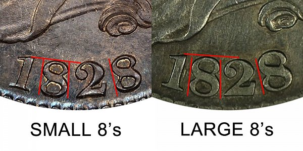 1828 Small 8s vs Large 8s Capped Bust Half Dollar - Difference and Comparison