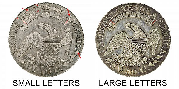 1828 Small Letters vs Large Letters Capped Bust Half Dollar - Difference and Comparison